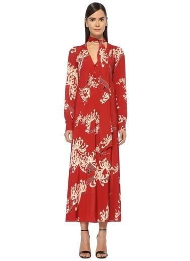 McQ Alexander McQueen V Yaka Çiçek Desenli Uzun Elbise Kırmızı